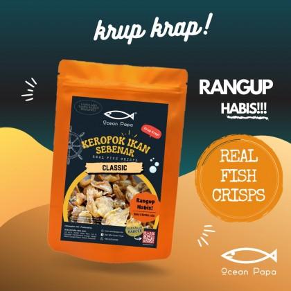 Keropok Ikan Sebenar / Real Fish Crisps Ocean Papa (Rangup Crispy Viral) - 60g